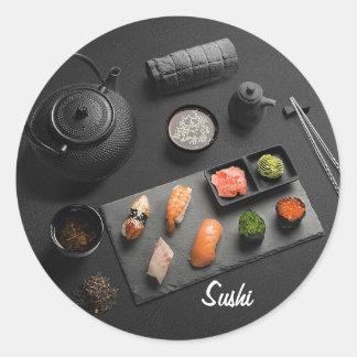 Adesivo Redondo Ritual do japonês do sushi