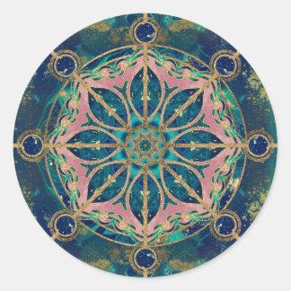 Adesivo Redondo Roda de Dharma - pedra preciosa & ouro de