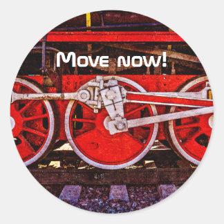 Adesivo Redondo Rodas do trem do vapor do vintage