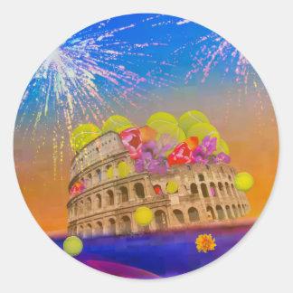 Adesivo Redondo Roma comemora a estação com bolas de tênis, flores