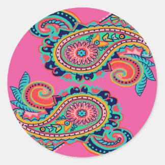 Adesivo Redondo Rosa alaranjado da cerceta brilhante da coleção de