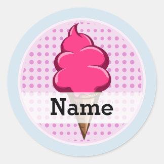 Adesivo Redondo Rosa bonito sorvete personalizado para meninas