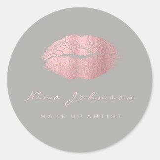Adesivo Redondo Rosa cinzento Lipstik do rosa da beleza da