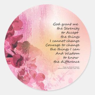 Adesivo Redondo Rosa da cerca 3 do marmelo da oração da serenidade