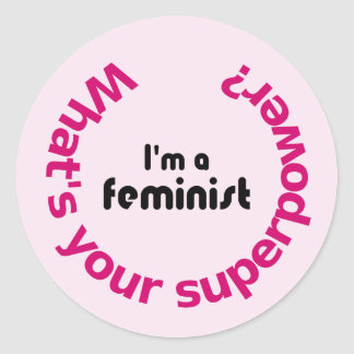 Adesivo Redondo Rosa das citações da superpotência do feminismo