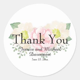 Adesivo Redondo Rosa do vintage e obrigado floral de creme você