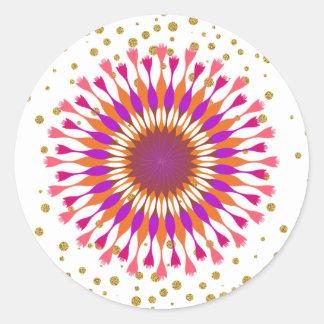 Adesivo Redondo Rosa dos confetes do ouro da flor de Lotus