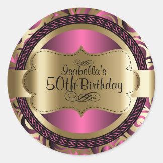 Adesivo Redondo Rosa e aniversário abstrato do ouro
