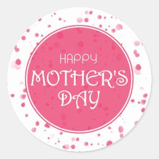 Adesivo Redondo Rosa feliz do abstrato do dia das mães