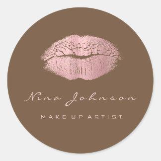 Adesivo Redondo Rosa Lipstik do rosa do bronze da beleza da