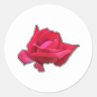 Adesivo Redondo Rosa vermelha elegante