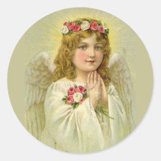 Adesivo Redondo Rosário Praying do anjo bonito do vintage