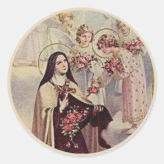 Adesivo Redondo Rosas abençoados Therese dos anjos do St.