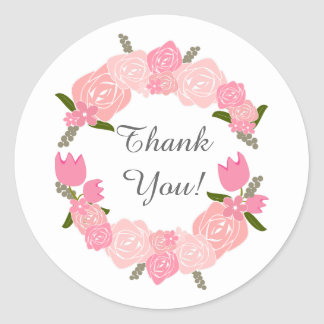 Adesivo Redondo Rosas cor-de-rosa, tulipas, favores do casamento