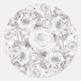 Adesivo Redondo Rosas de inverno rústicos brancos que Wedding o