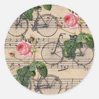 Adesivo Redondo Rosas e bicicletas cor-de-rosa do vintage