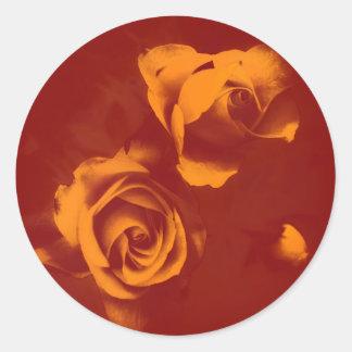 Adesivo Redondo Rosas profundos do fulgor alaranjado