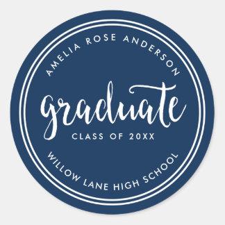 Adesivo Redondo Roteiro azul e graduação graduada das listras