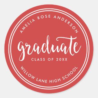 Adesivo Redondo Roteiro vermelho e graduação graduada das listras