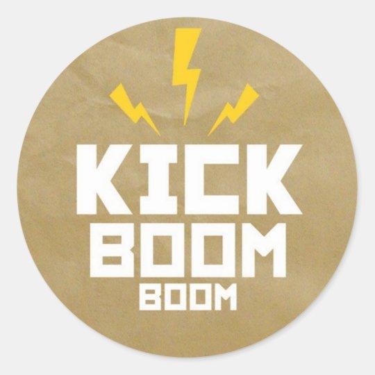 Adesivo Redondo Round Stickers Kick Boom Boom