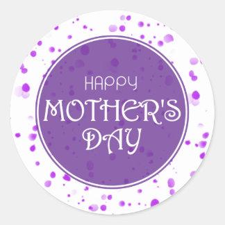 Adesivo Redondo Roxo feliz do abstrato do dia das mães