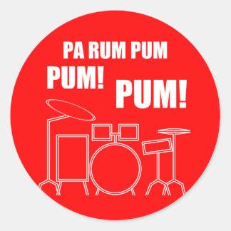 Adesivo Redondo Rum Pum Pum Pum do Pa