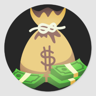 Adesivo Redondo Saco rico das impressões | do dinheiro Emoji
