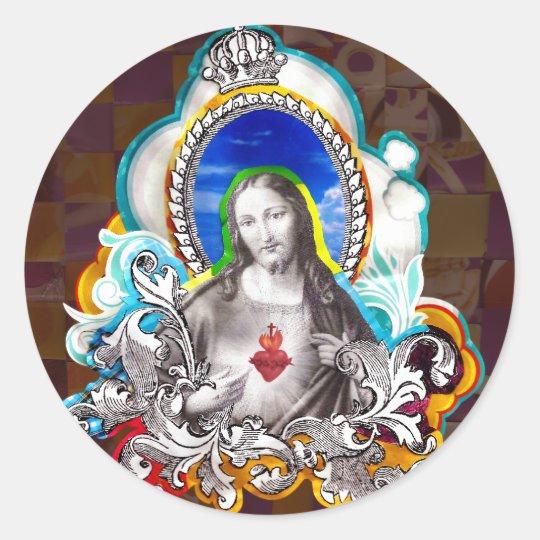 Adesivo Redondo Sagrado Coração de Jesus (Sacred Heart)