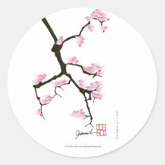 Adesivo Redondo sakura com os pássaros cor-de-rosa por fernandes