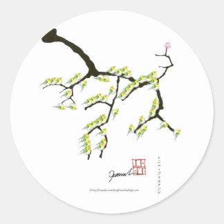 Adesivo Redondo sakura com pássaros verdes, fernandes tony