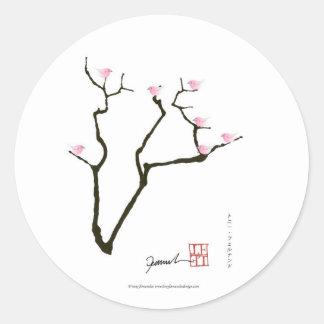 Adesivo Redondo sakura e 7 pássaros cor-de-rosa 1, fernandes tony
