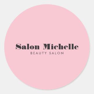Adesivo Redondo Salão de beleza cor-de-rosa chique e minimalista