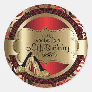 Adesivo Redondo Saltos altos abstratos do ouro do aniversário do