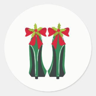 Adesivo Redondo Saltos altos verdes com arcos do Natal