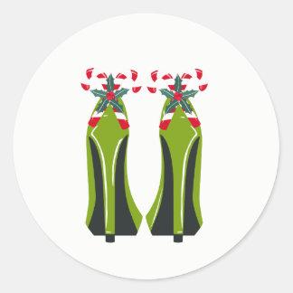 Adesivo Redondo Saltos altos verdes com bastões de doces
