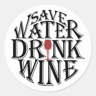 Adesivo Redondo Salvar a água e beba o design das citações do