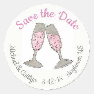 Adesivo Redondo Salvar a data do casamento do brinde de Champagne