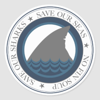 Adesivo Redondo salvar nossos tubarões