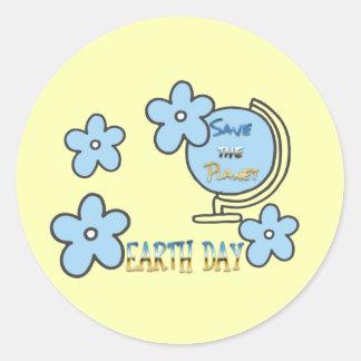 Adesivo Redondo Salvar o globo do Dia da Terra do planeta