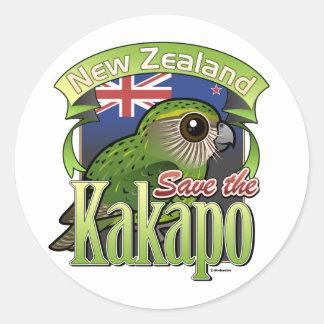 Adesivo Redondo Salvar o Kakapo de Nova Zelândia