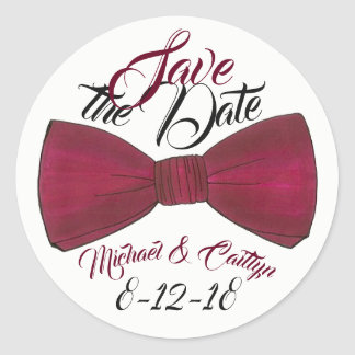 Adesivo Redondo Salvar o noivo personalizado data Bowtie do
