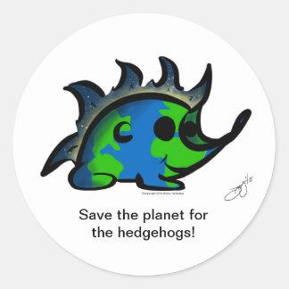 """Adesivo Redondo """"Salvar o planeta para os ouriços! """"Etiquetas"""