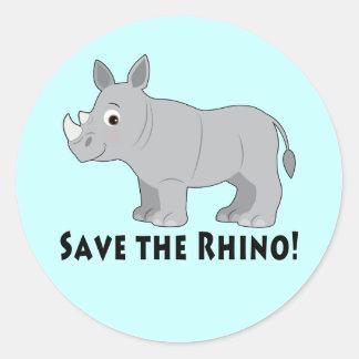 Adesivo Redondo Salvar o rinoceronte!