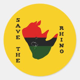 Adesivo Redondo Salvar o rinoceronte com amarelo do rasgo de