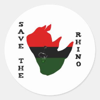 Adesivo Redondo Salvar o rinoceronte com branco do rasgo de África
