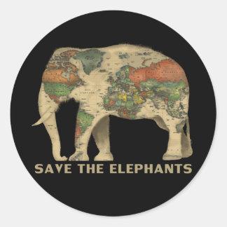 Adesivo Redondo Salvar os elefantes