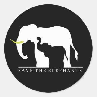 Adesivo Redondo Salvar os elefantes (o preto)