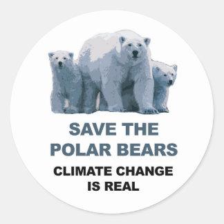 Adesivo Redondo Salvar os ursos polares