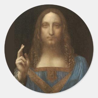 Adesivo Redondo Salvator Mundi por Leonardo da Vinci cerca de 1500