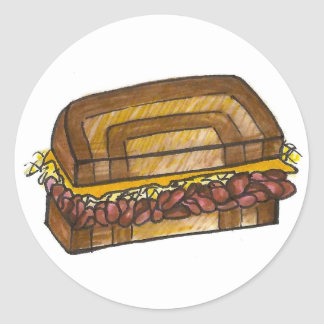Adesivo Redondo Sanduíche judaico Foodie da carne em lata de